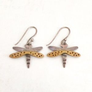 Mexico PAR Silver Dragonfly Earrings Bronze Wings